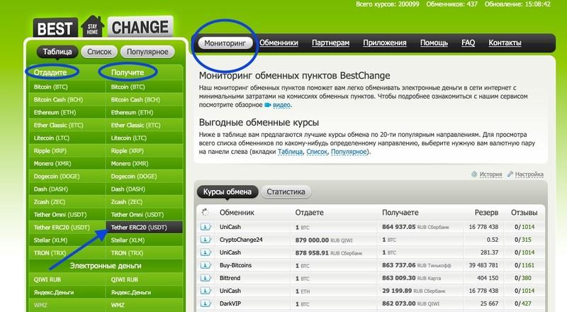 Покупка USDT Bestchange